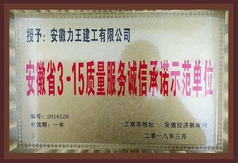 安徽省3.15质量服务诚信承诺示范单位